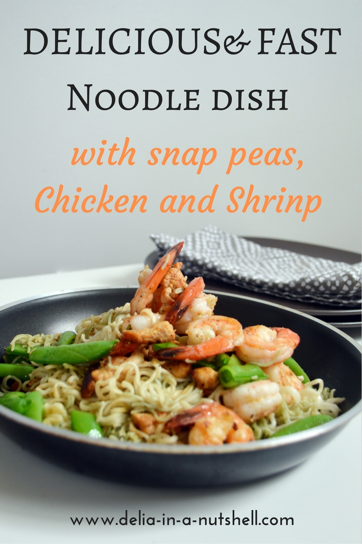 Delicious, fast and easy noodle dish with shrimp, chicken and snap peas . | dinner | lunch | meal ideas | dinner ideas | noodle dish idea | organic dinner |