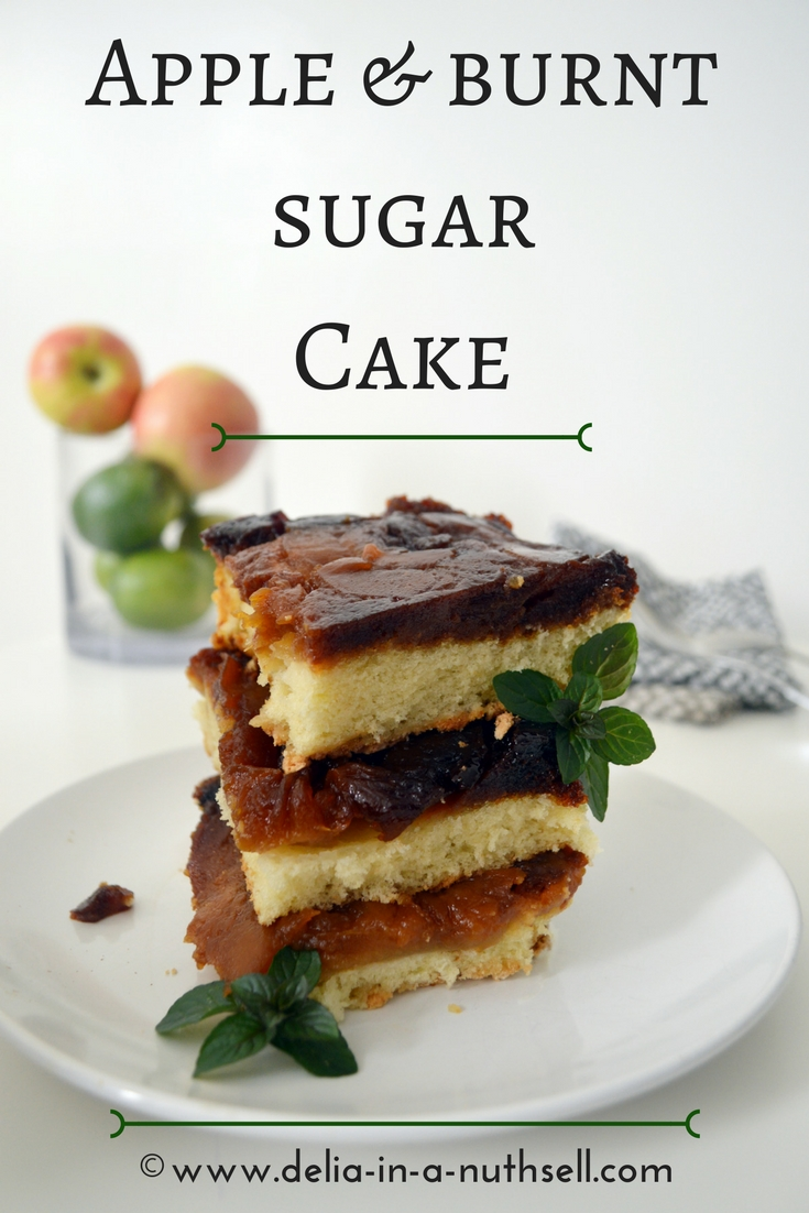 Apple-burnt sugar Cake with vanilla sponge .The tangy taste of apples balances the sweet and bitter taste of the burnt sugar and the layer of fluffy vanilla sponge brings everything together like a dream! Yum, my mouth is watering already!